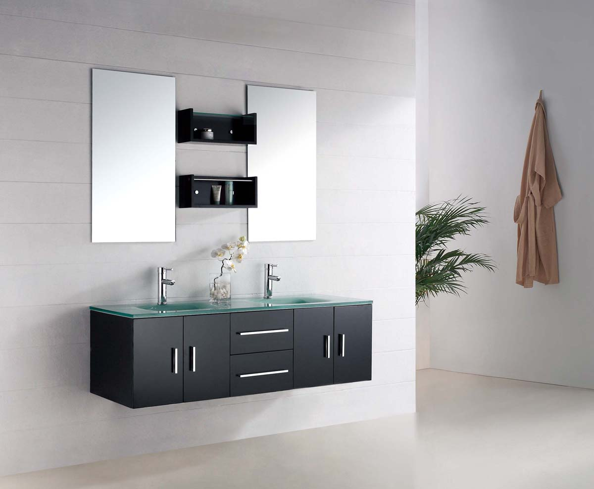 Image of: Floating Bathroom Vanity Black