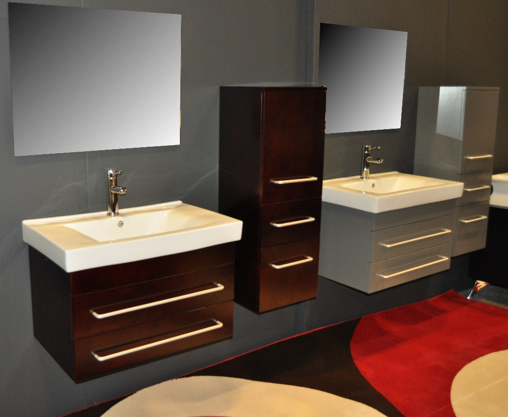 Image of: Floating Bathroom Vanity Double
