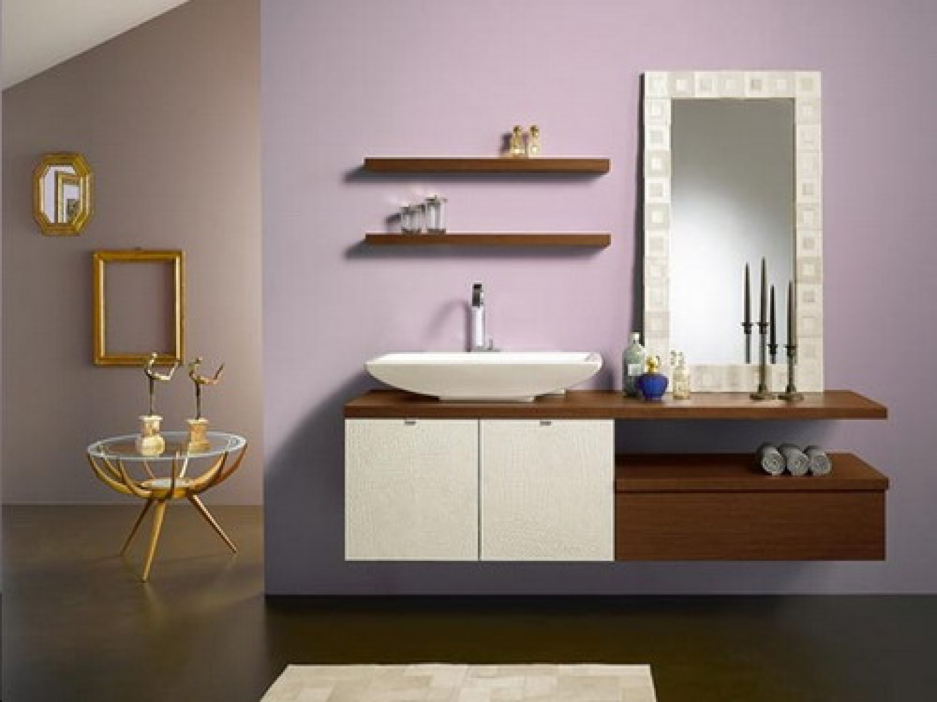 Image of: Floating Bathroom Vanity Shelves