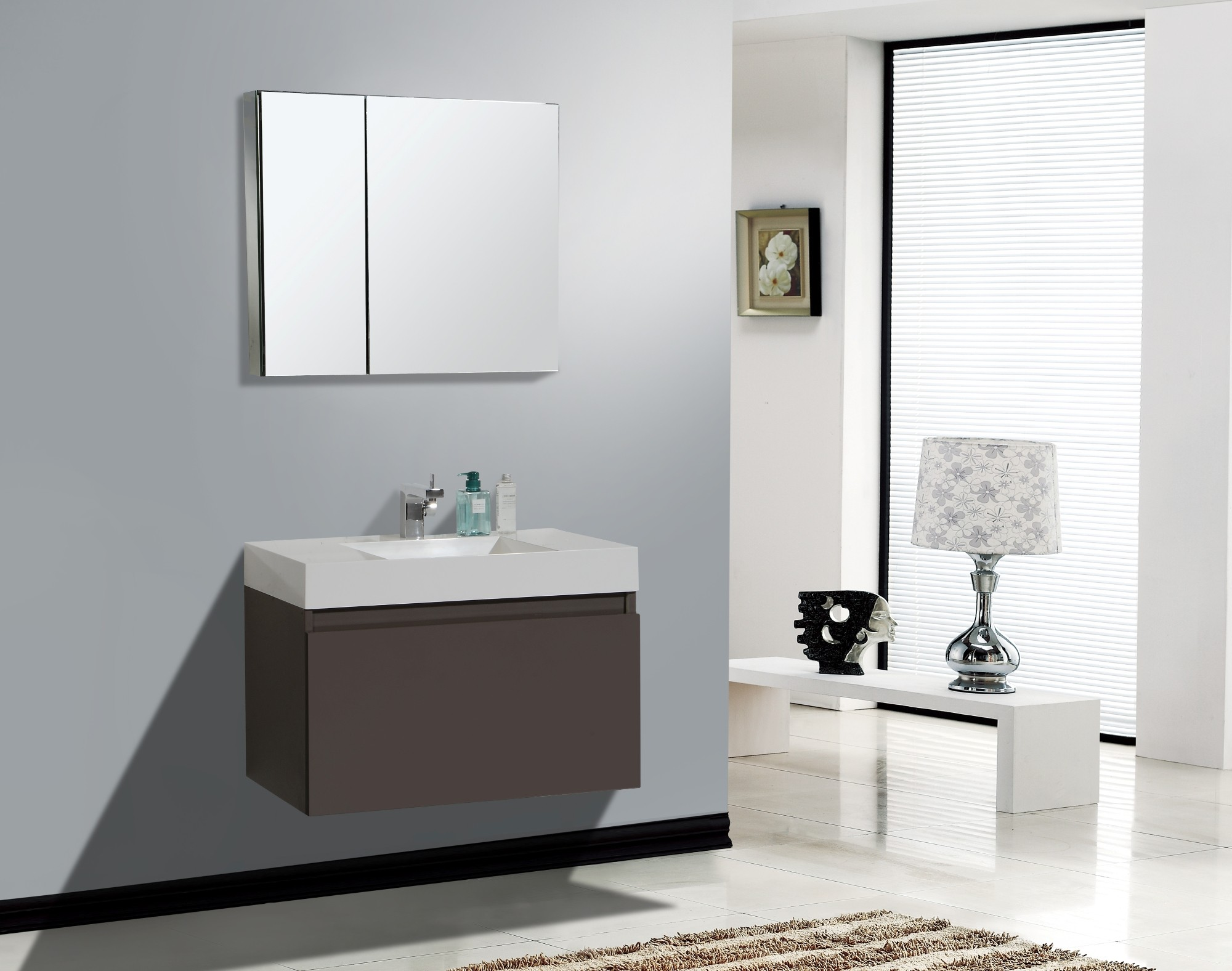 Image of: Floating Bathroom Vanity Single