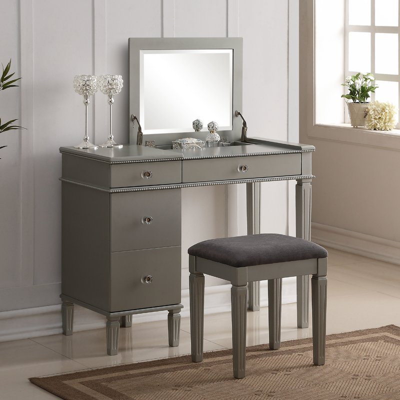 Picture of: Gray Vanity Table with Mirror