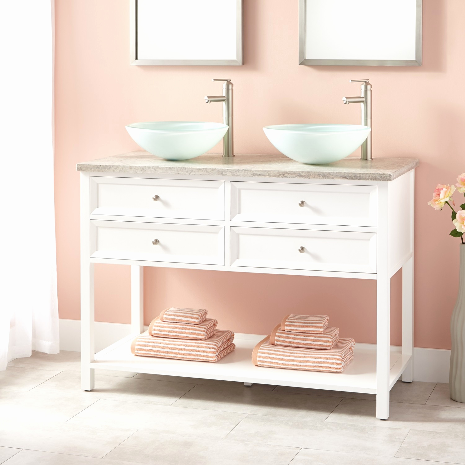 Picture of: 48 inch double sink vanity Lovely 48″ Wynne Double Vessel Sink Vanity White Bathroom