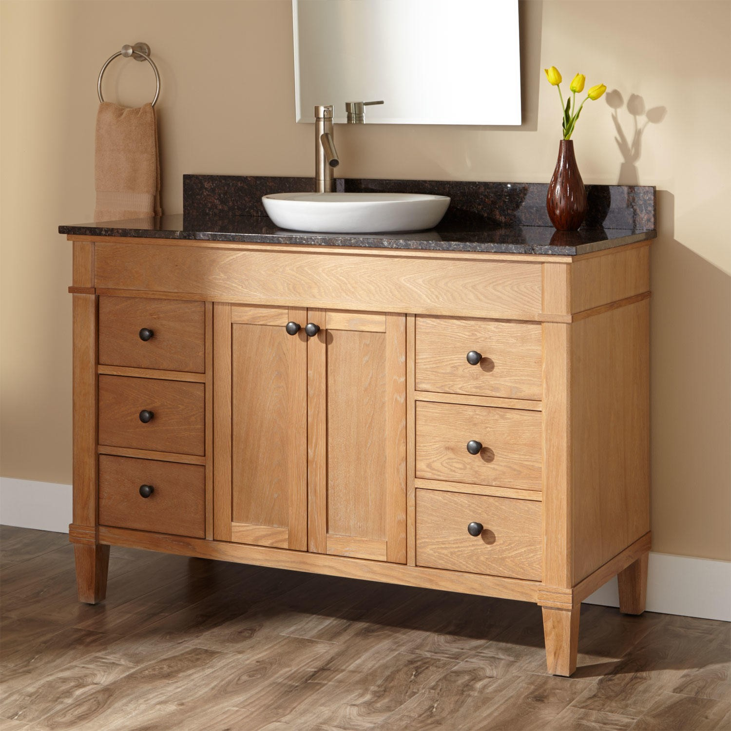 Image of: Ikea Double Vanity Oak