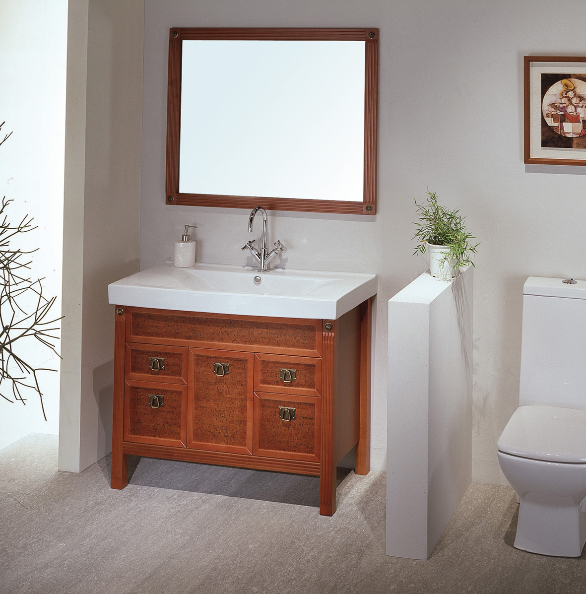 Image of: Ikea Double Vanity Teak