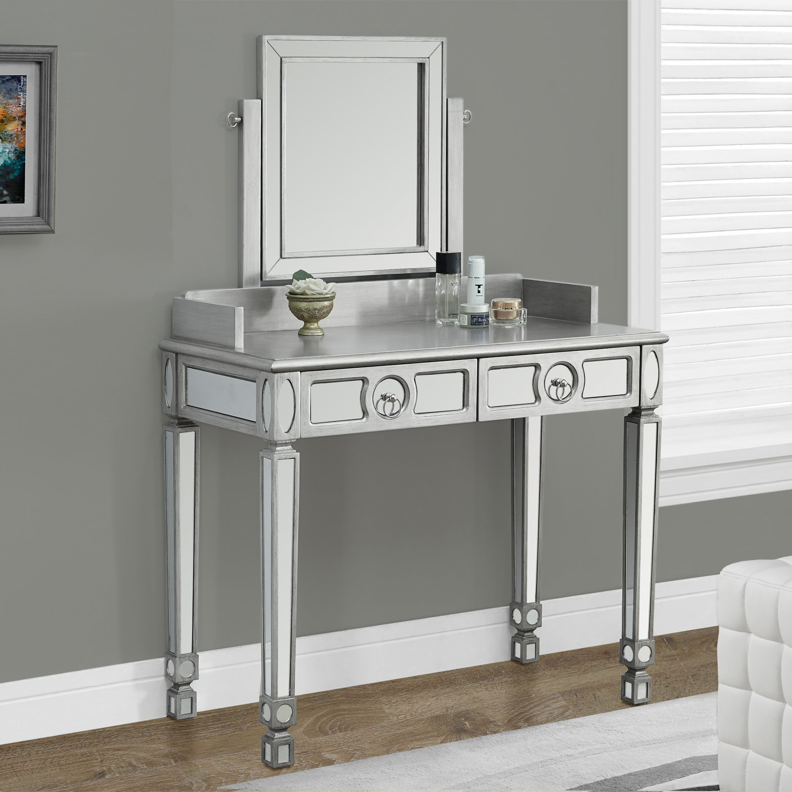 Picture of: Makeup Vanity Table with Mirror