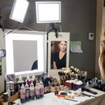 Makeup Vanity With Lights Around Mirror
