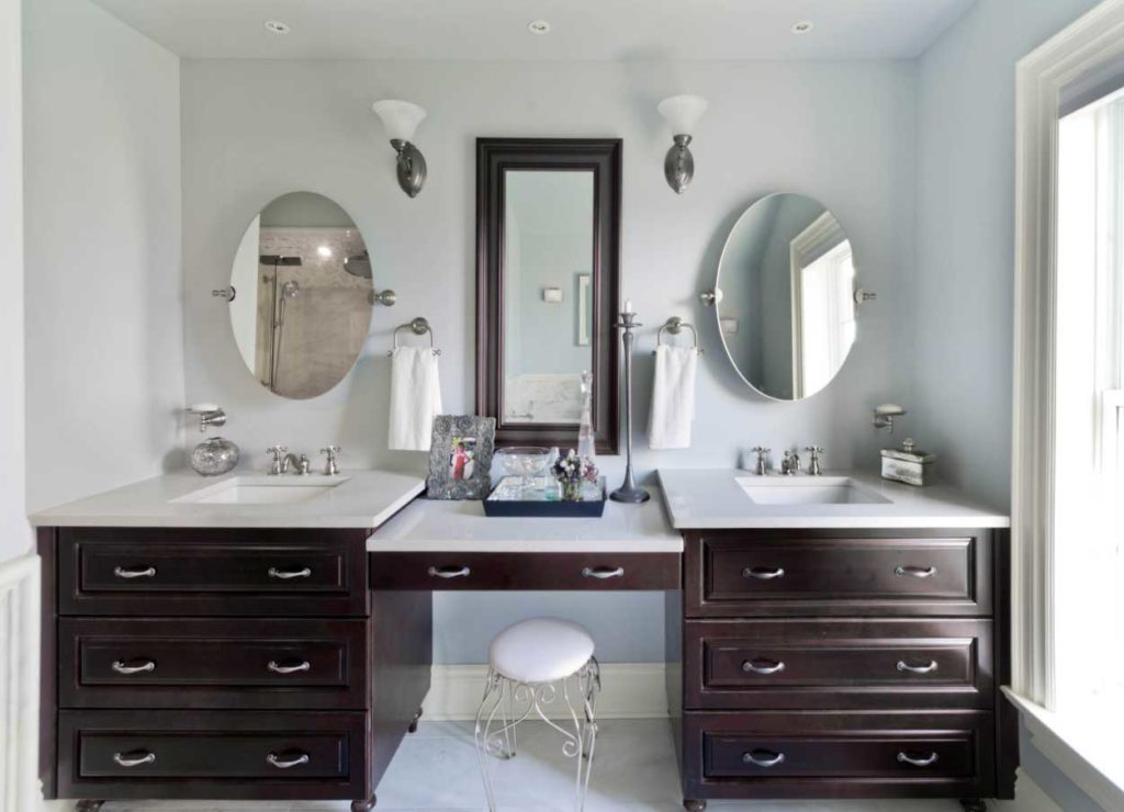 Image of: Oval Vanity Mirror Double