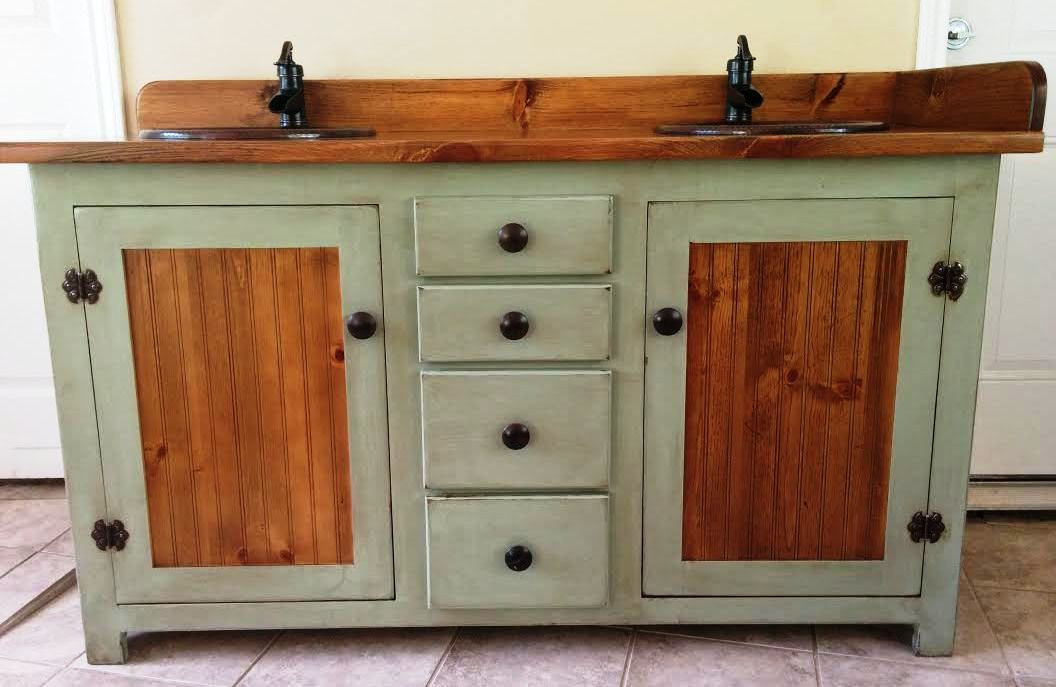 Image of: Painted Rustic Double Vanity