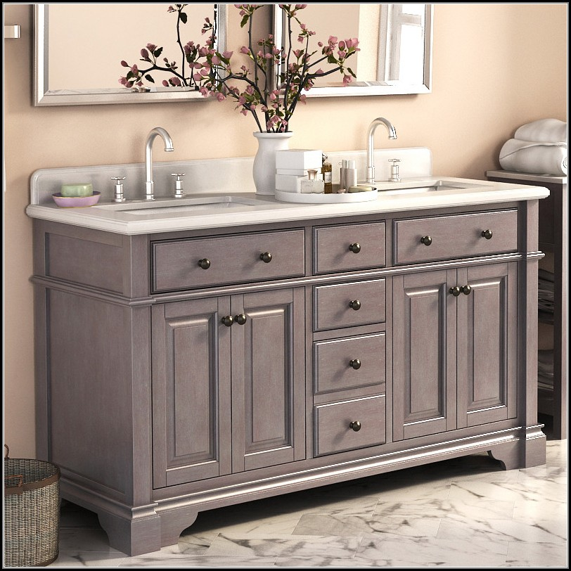 Image of: Rustic 60 Inch Bathroom Vanity Double Sink