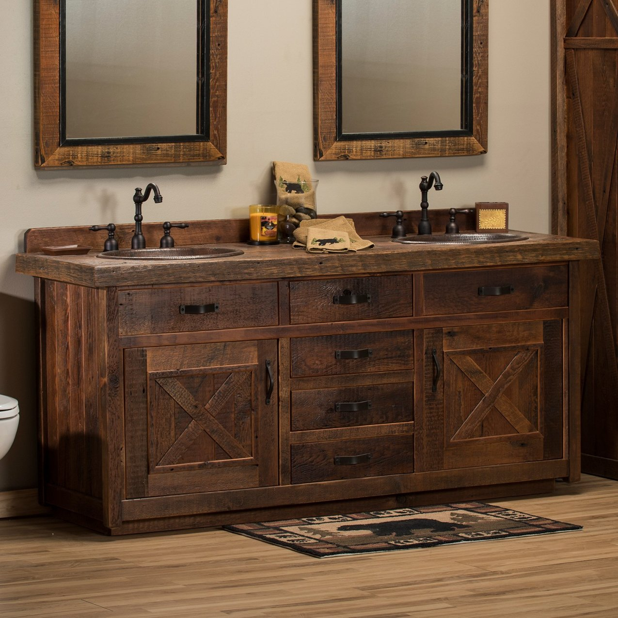 Image of: Rustic Double Vanity Sink Style