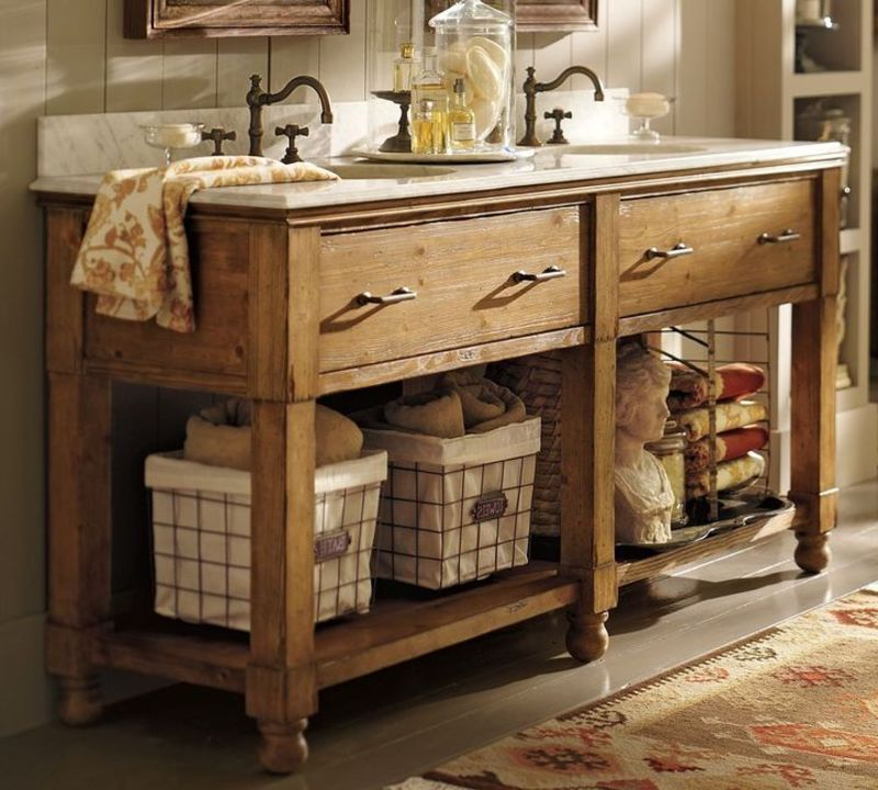 Image of: Rustic Double Vanity with Basket