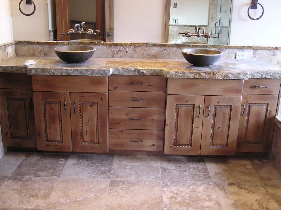 Image of: Rustic Double Vanity
