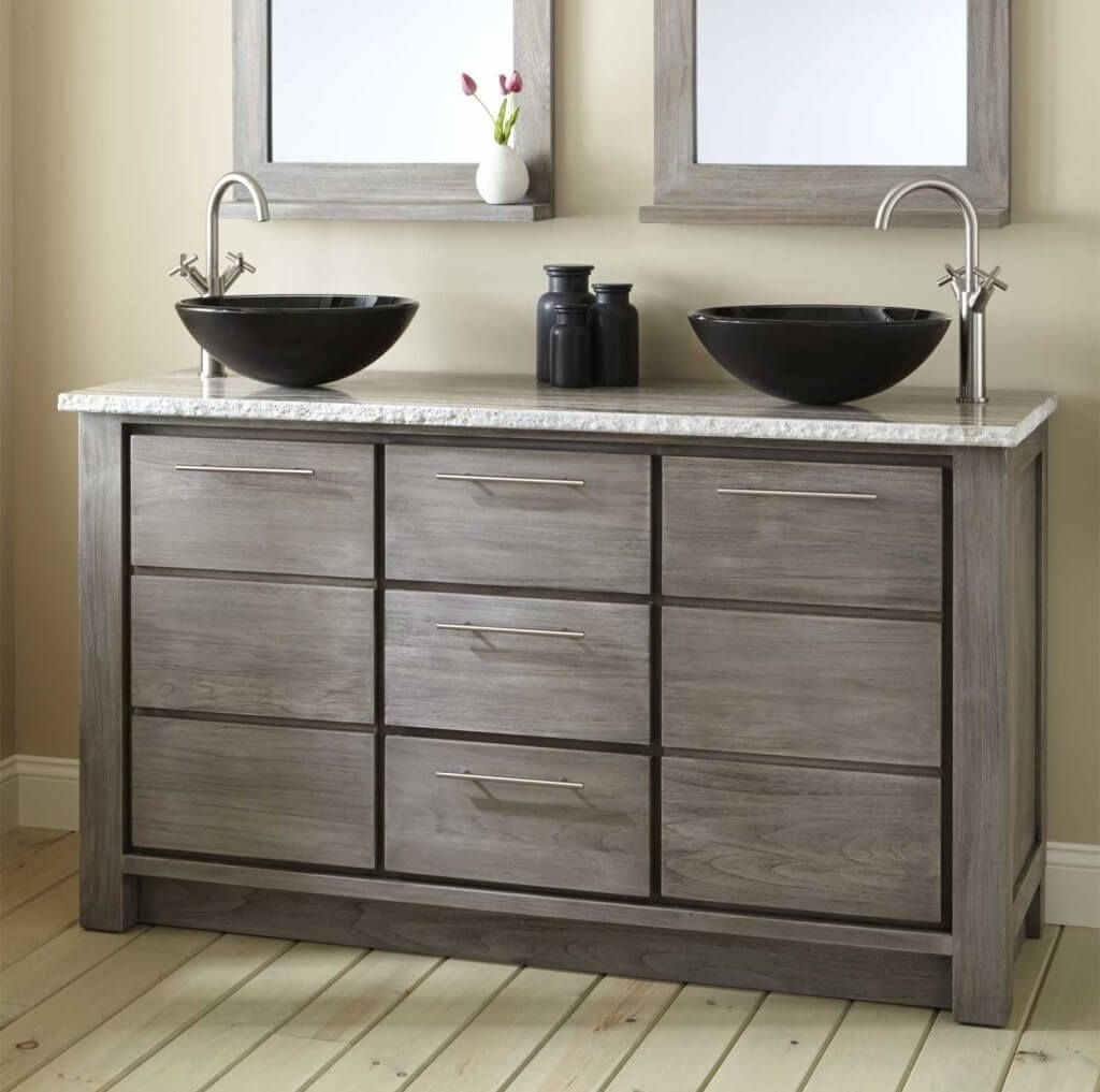 Image of: Small Double Sink Vanity Size