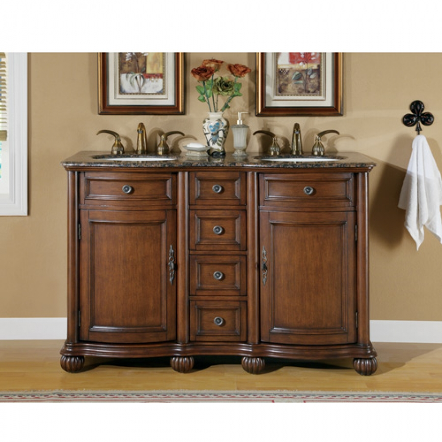 Image of: Small Double Sink Vanity with Baltic Countertop