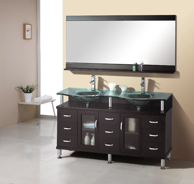 Image of: Small Double Vanity Glass
