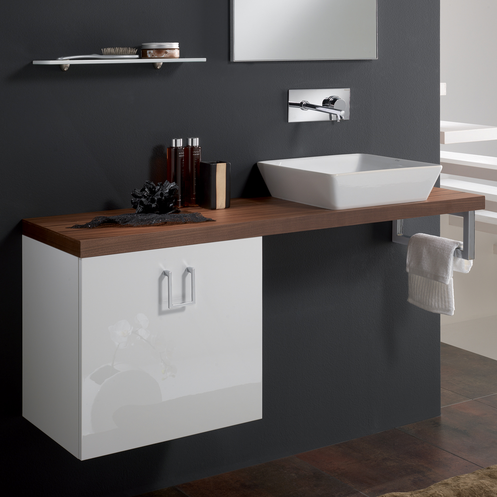 Image of: Small Double Vanity Walnut
