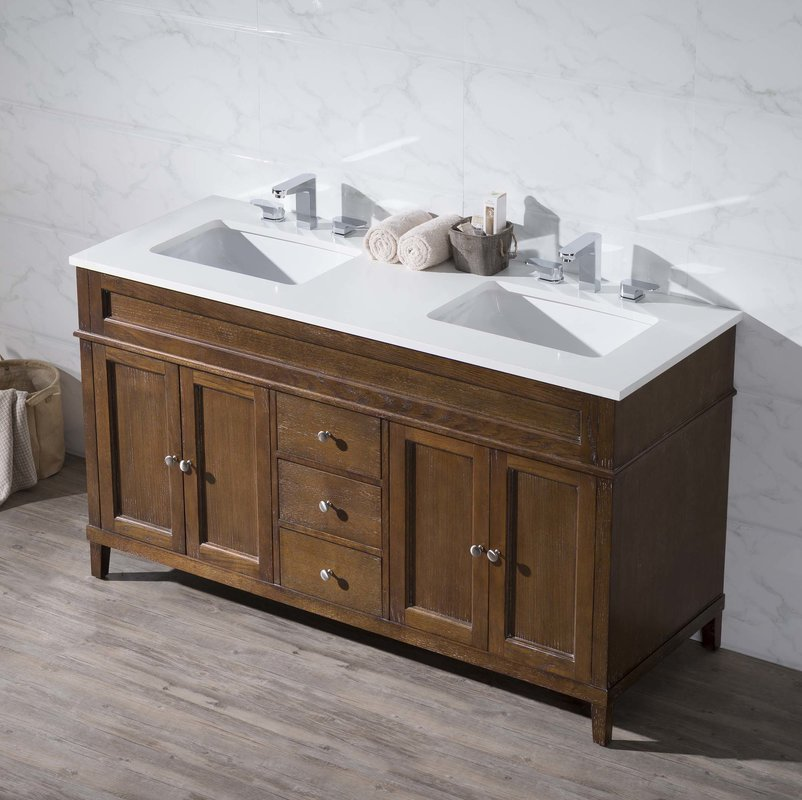 Image of: Small Double Vanity White Top