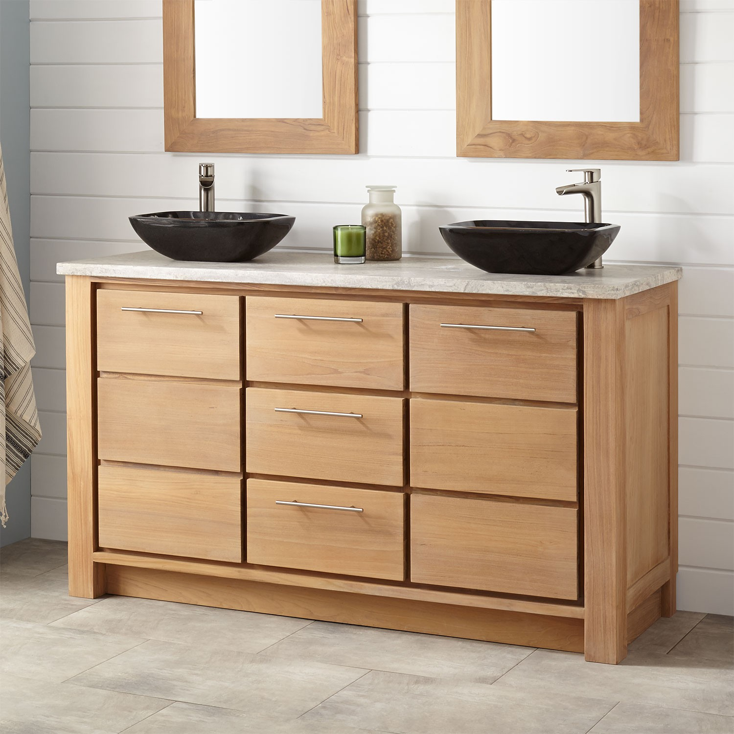 Picture of: Teak 60 Inch Double Sink Vanity