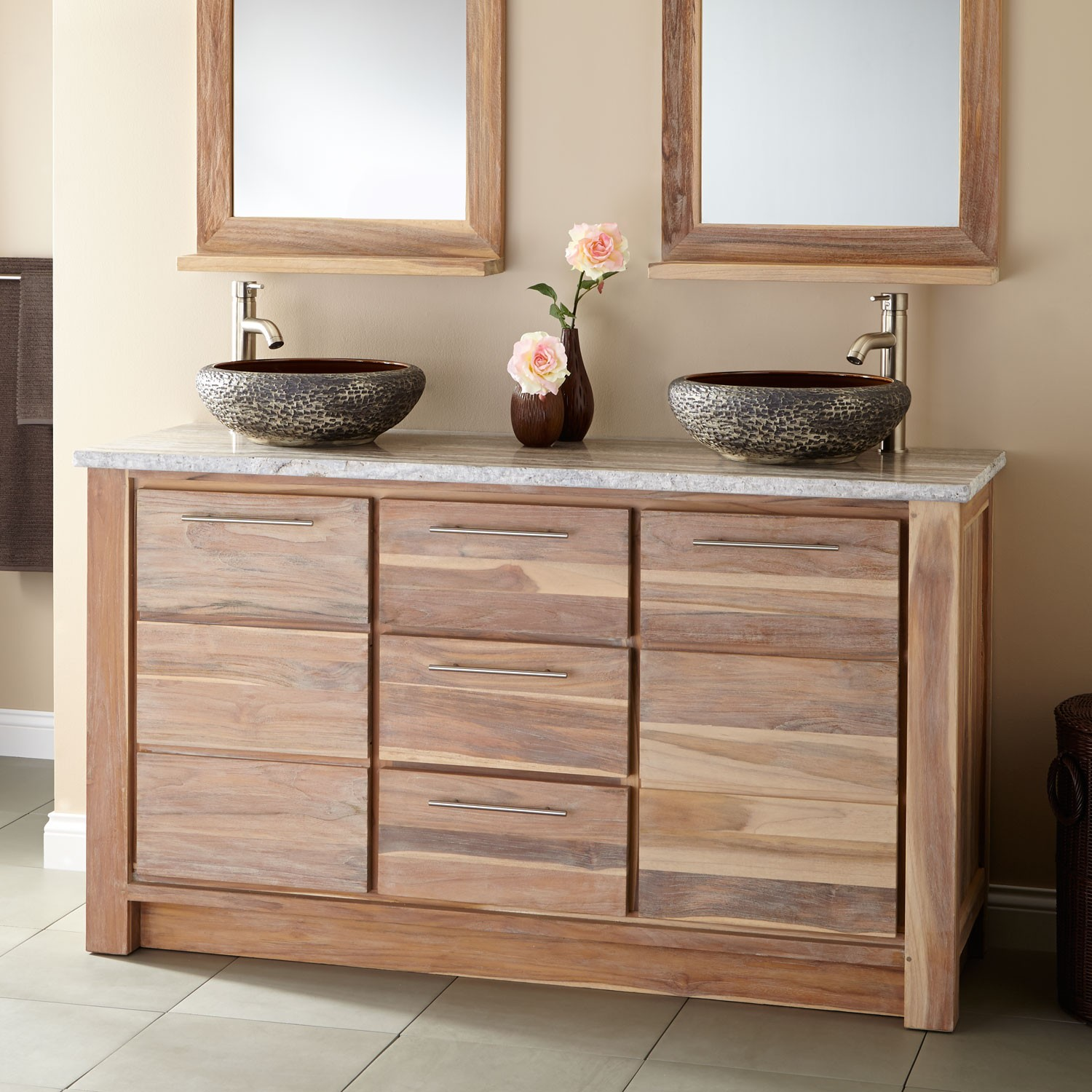 Image of: Teak Double Vanity