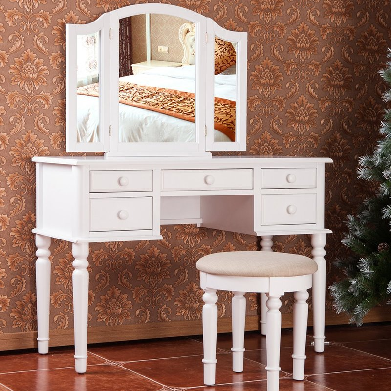 Picture of: Vanity with Mirror Set