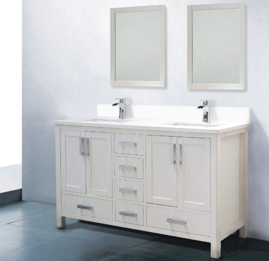 Picture of: White 60 Inch Double Sink Vanity