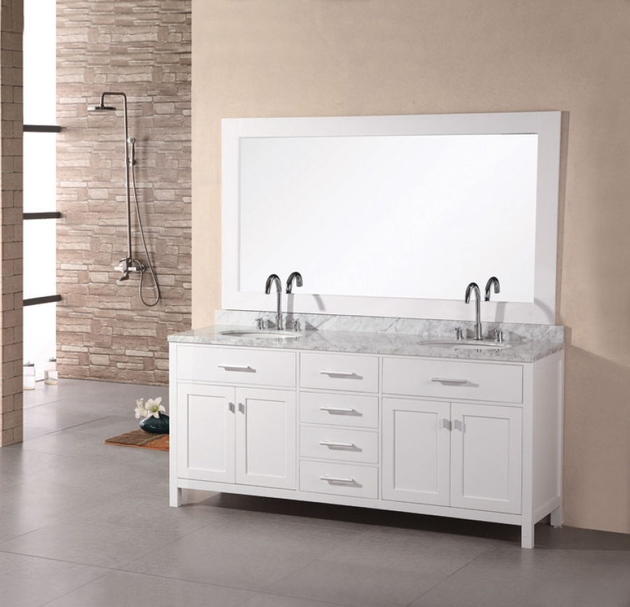 White 72 Double Sink Vanity