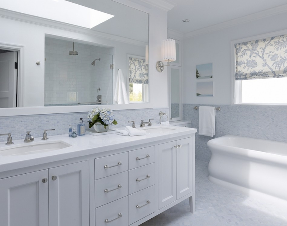 Picture of: White Bathroom Vanity with Black Top