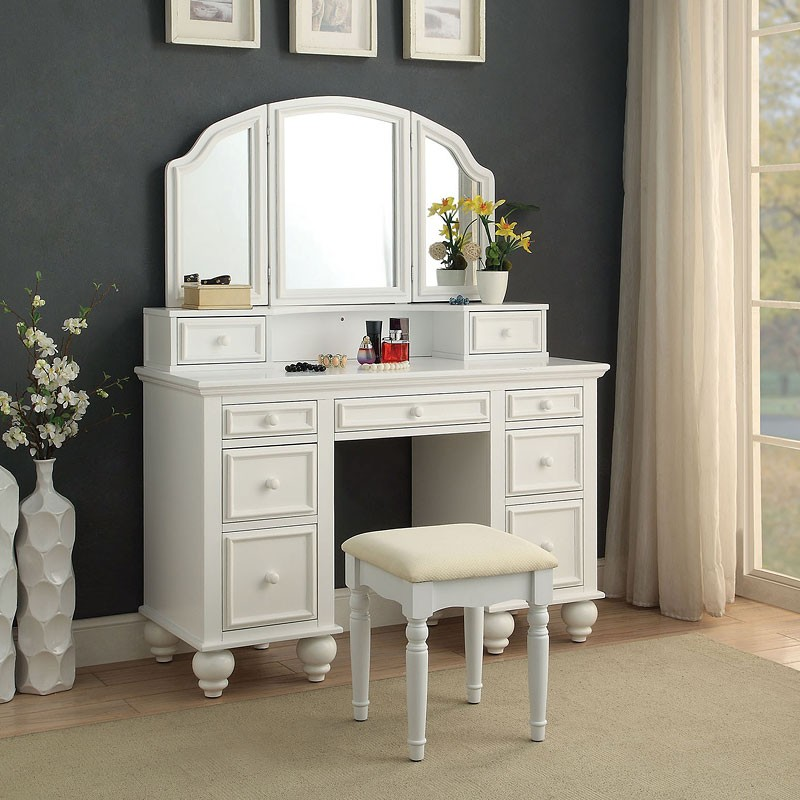 Picture of: White Bedroom Vanity Set Stool