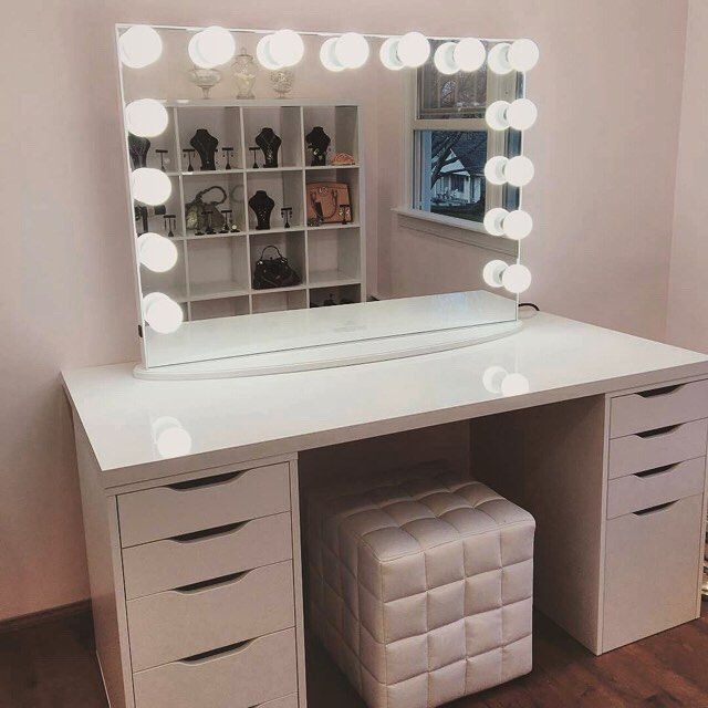 Picture of: White Bedroom Vanity with Light