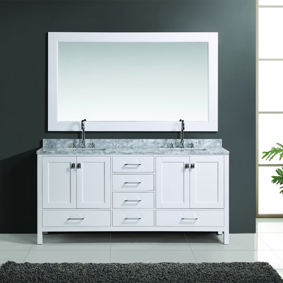 Image of: White Double Vanity Mirror