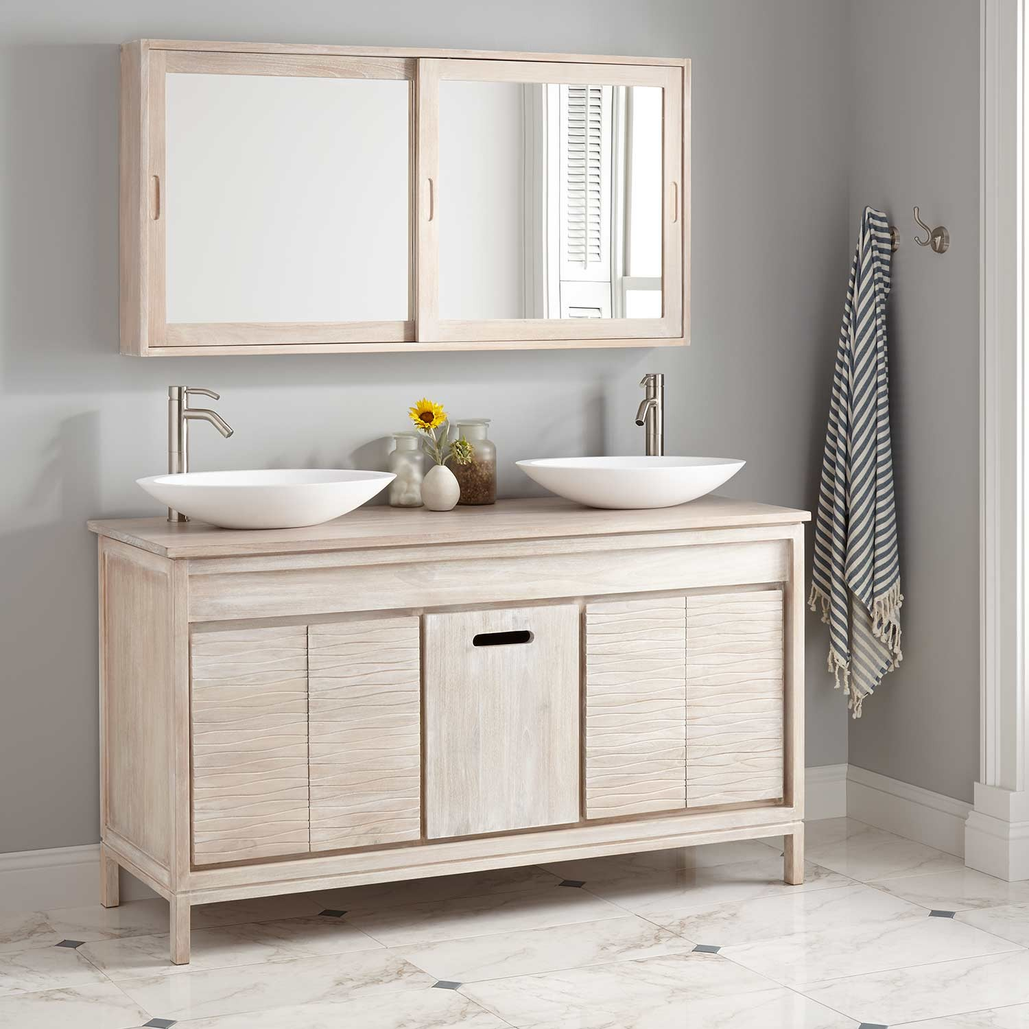Image of: White Double Vanity