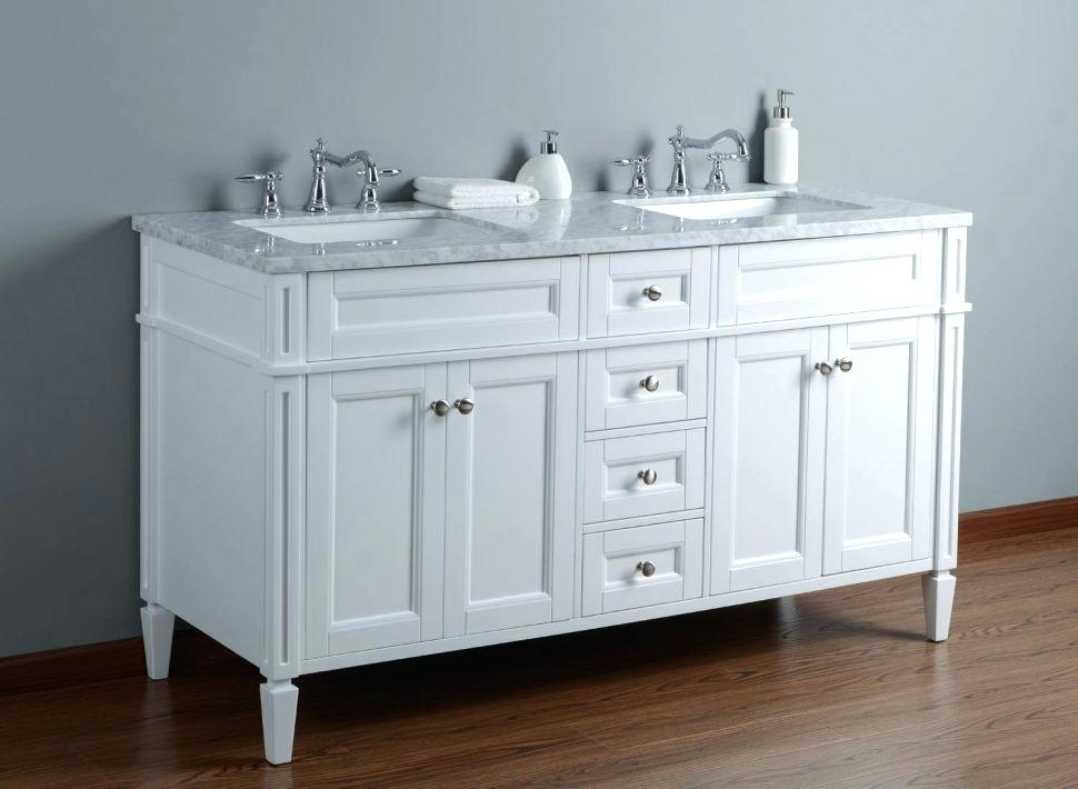 Image of: White Small Double Sink Vanity