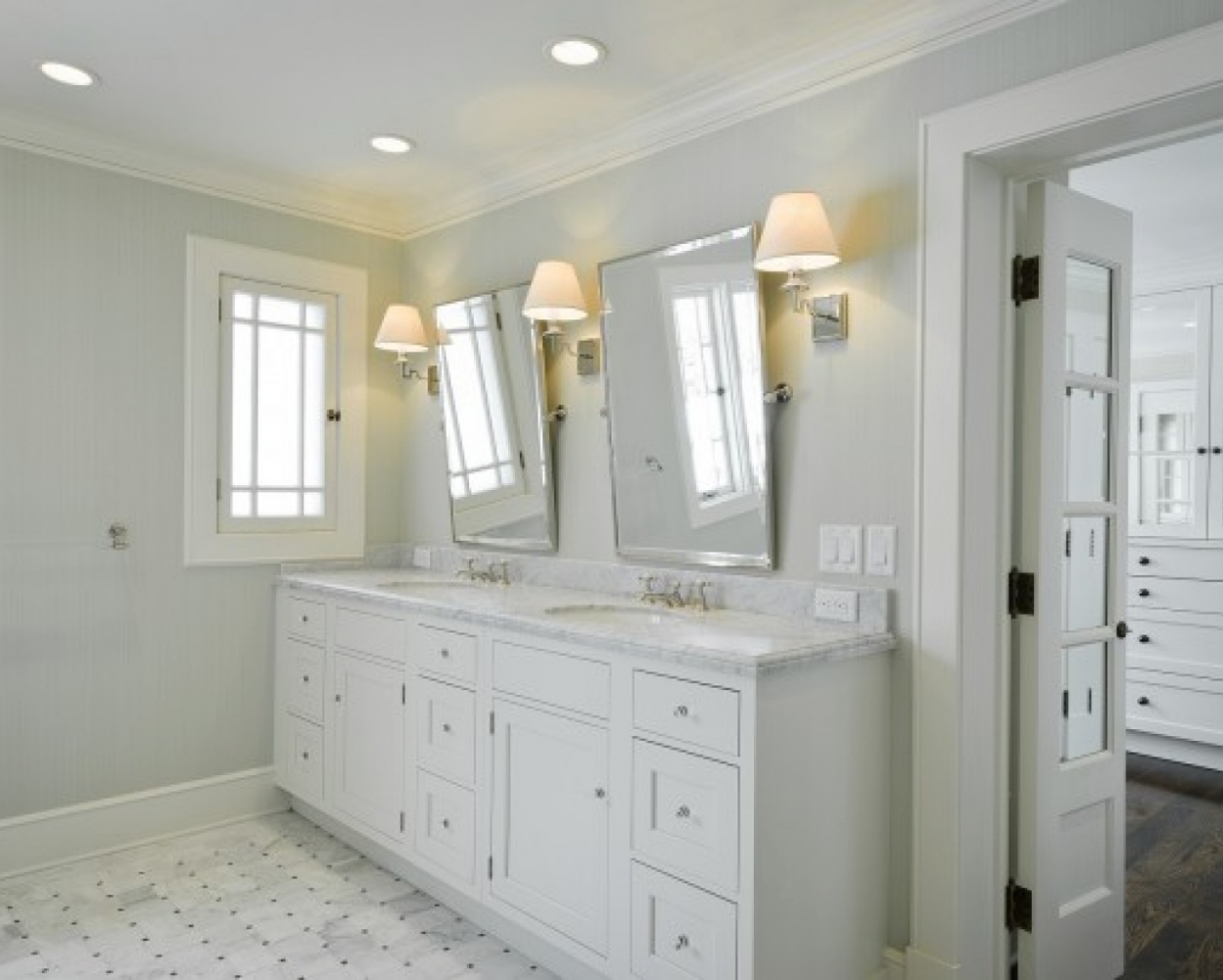 Image of: White Vanity Mirror Wall