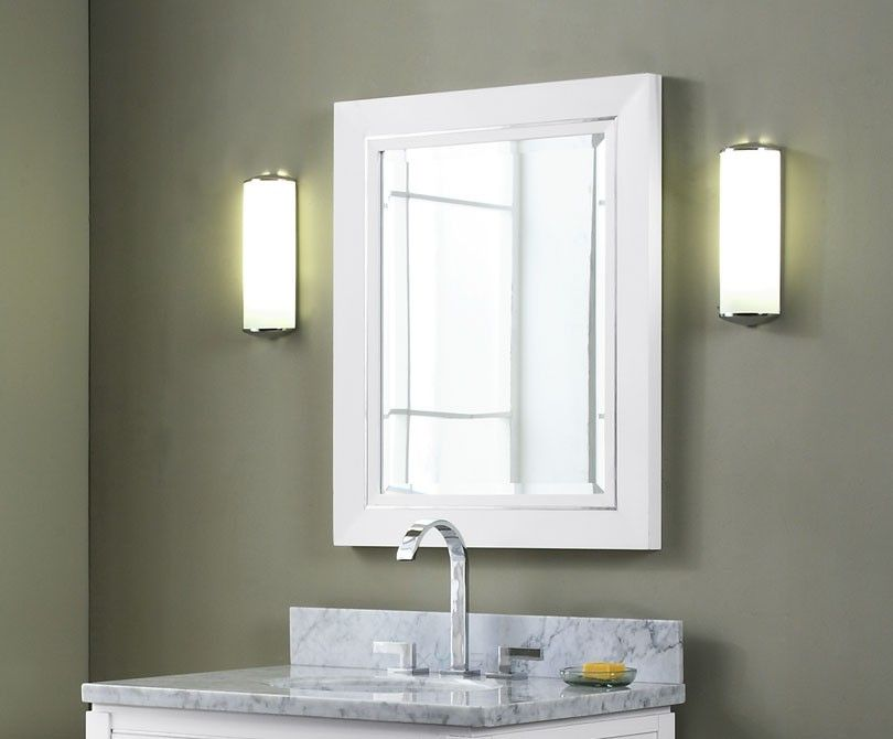 Image of: White Vanity Mirror and Lamps