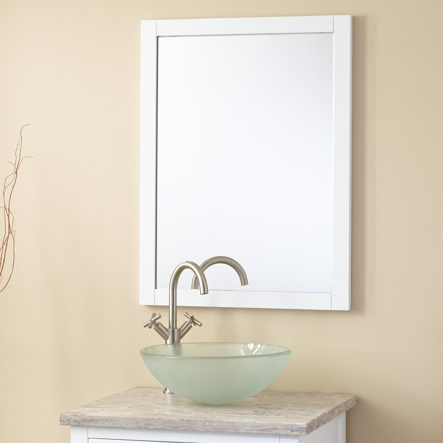 White Vanity Mirror on Wall