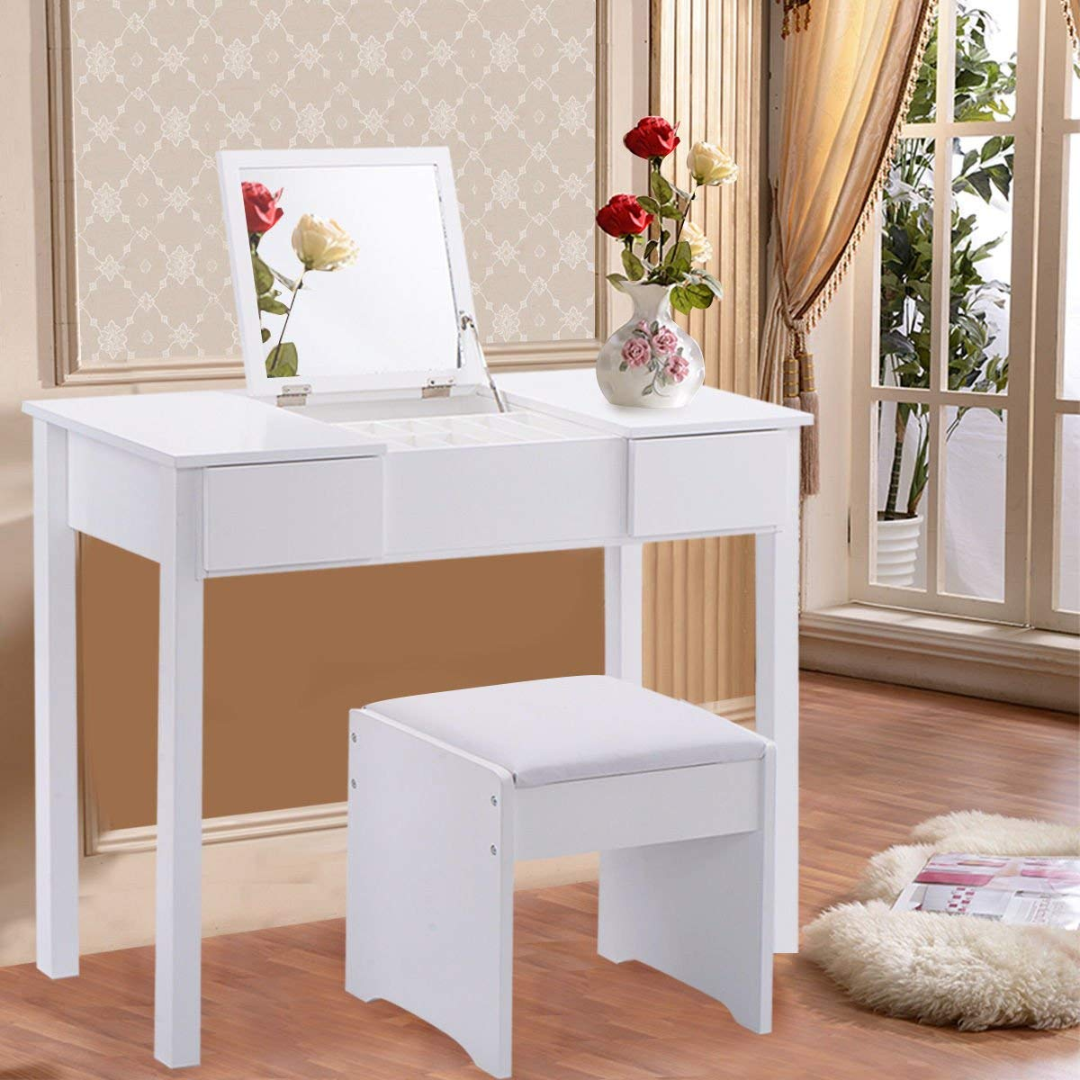 White Vanity Set With Mirror