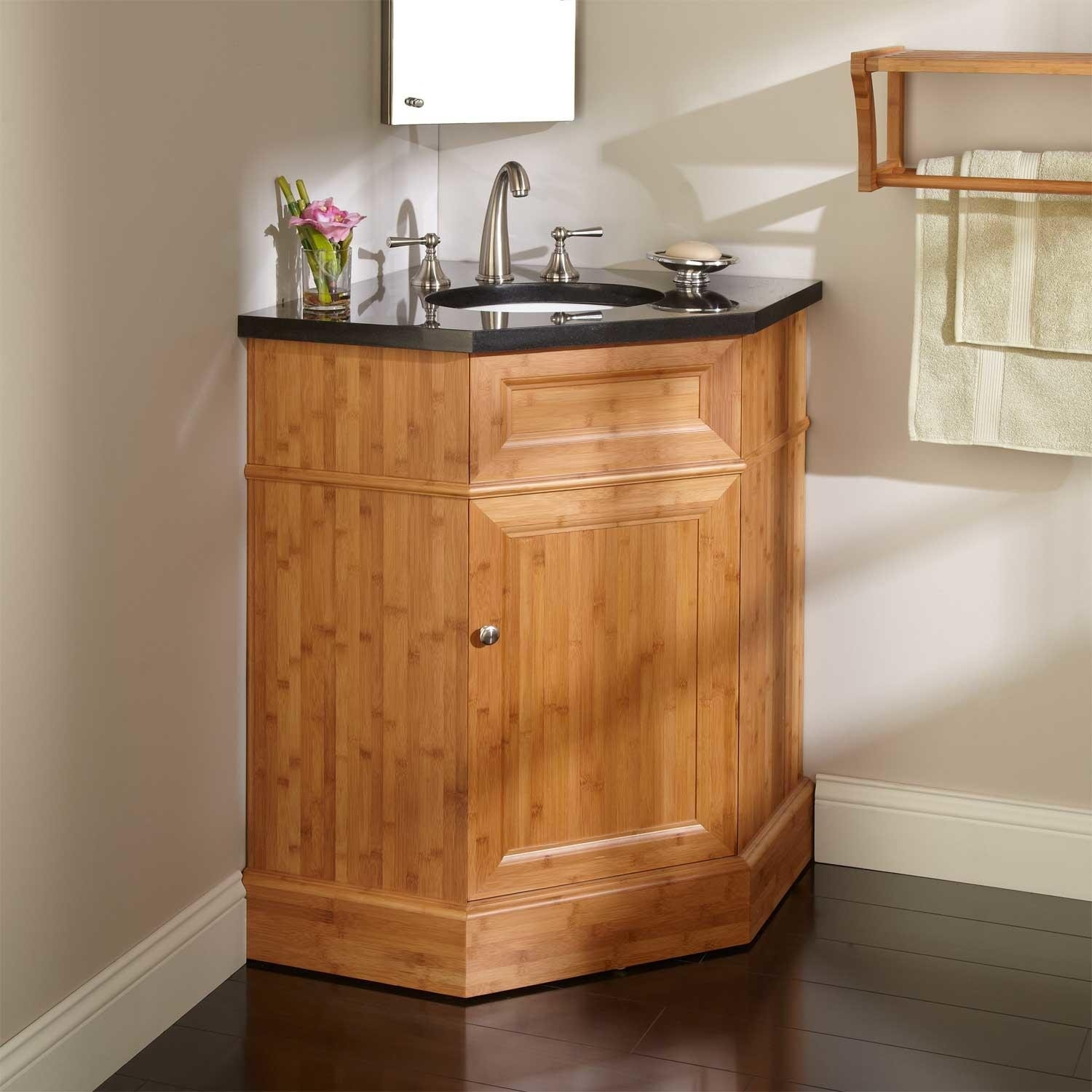 Image of: Wood Corner Bathroom Vanity