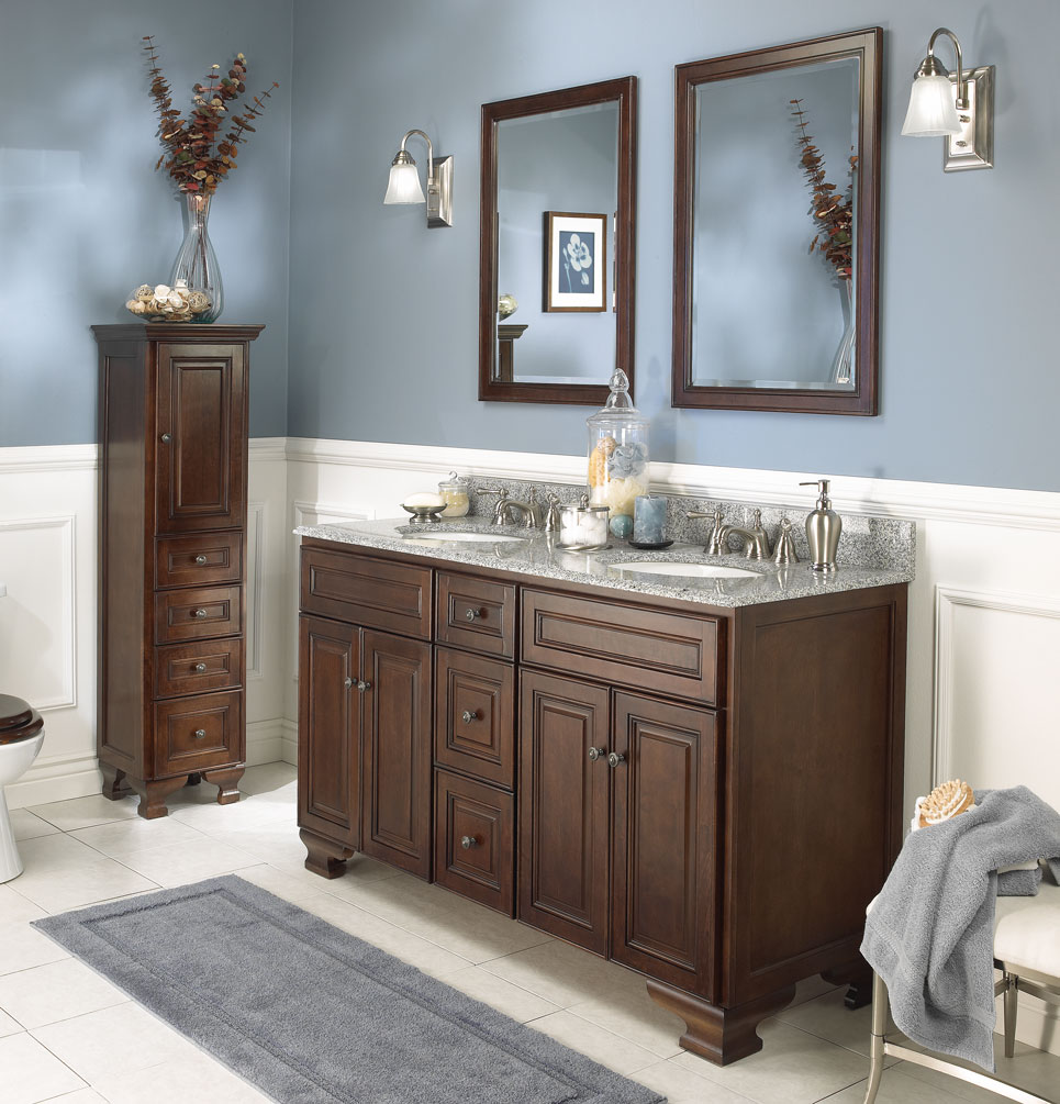 Image of: Wooden Double Vanity Bathroom