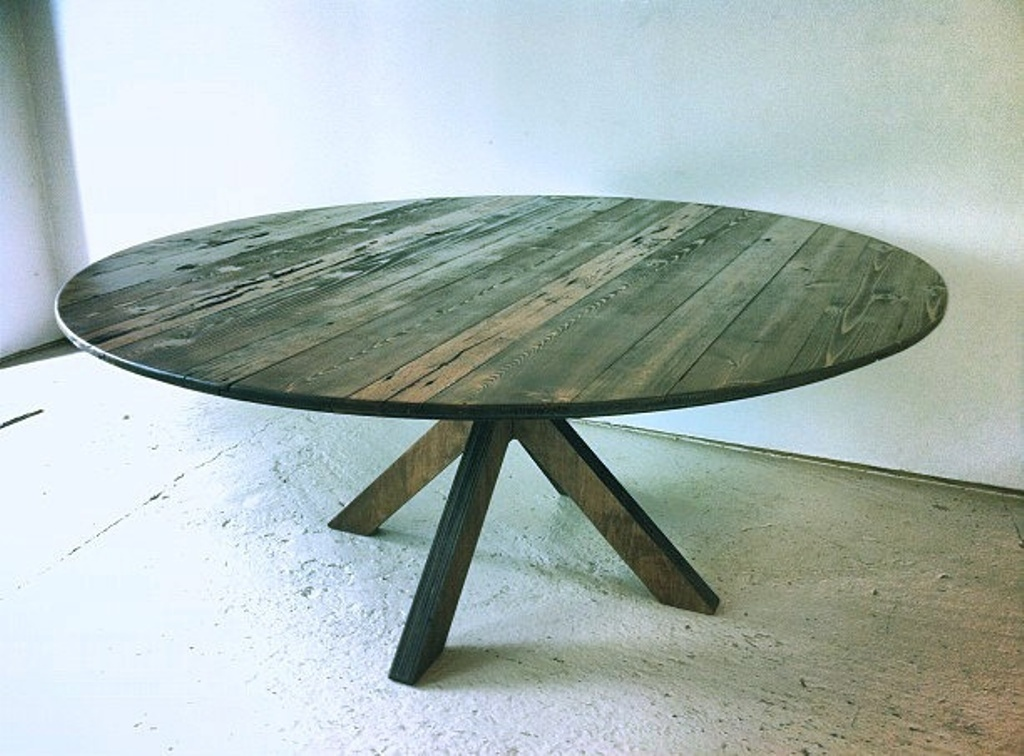 Image of: 60 Inch Round Dining Table Reclaimed Wood