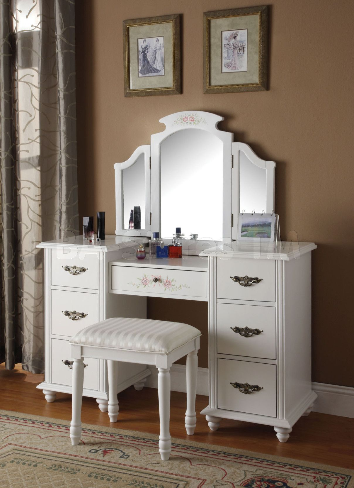 Picture of: Bedroom Vanity with Drawers Small