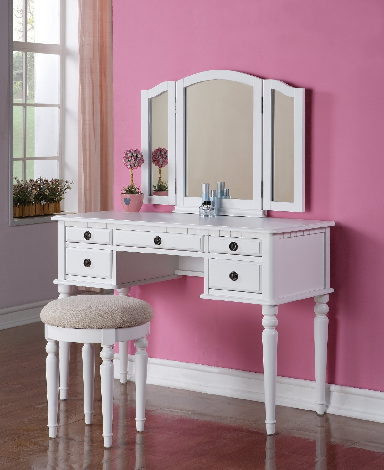 Picture of: Bedroom Vanity with Drawers Stool