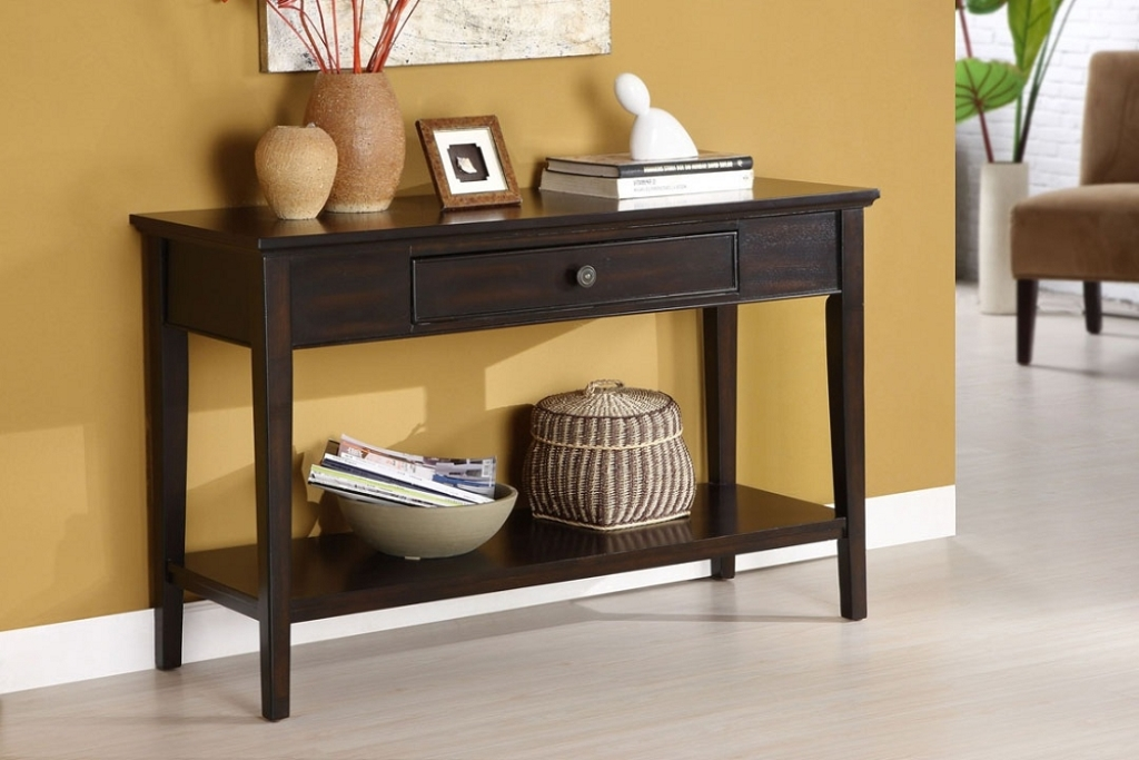 Picture of: Black and Cherry Sofa Table