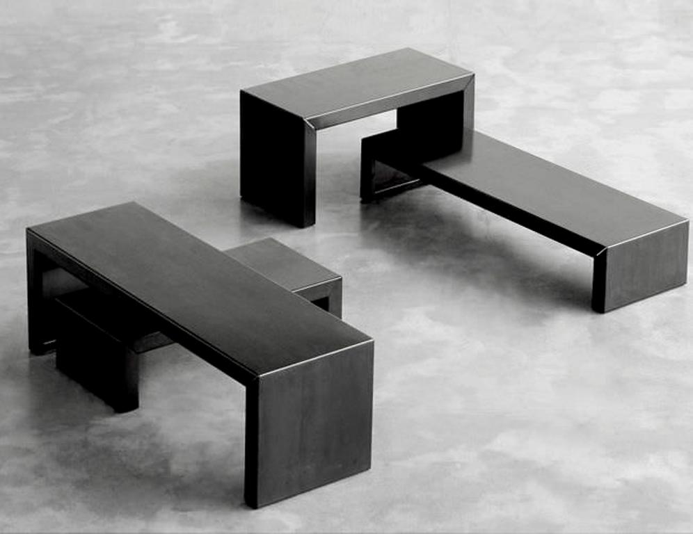 Picture of: black and stainless steel coffee table