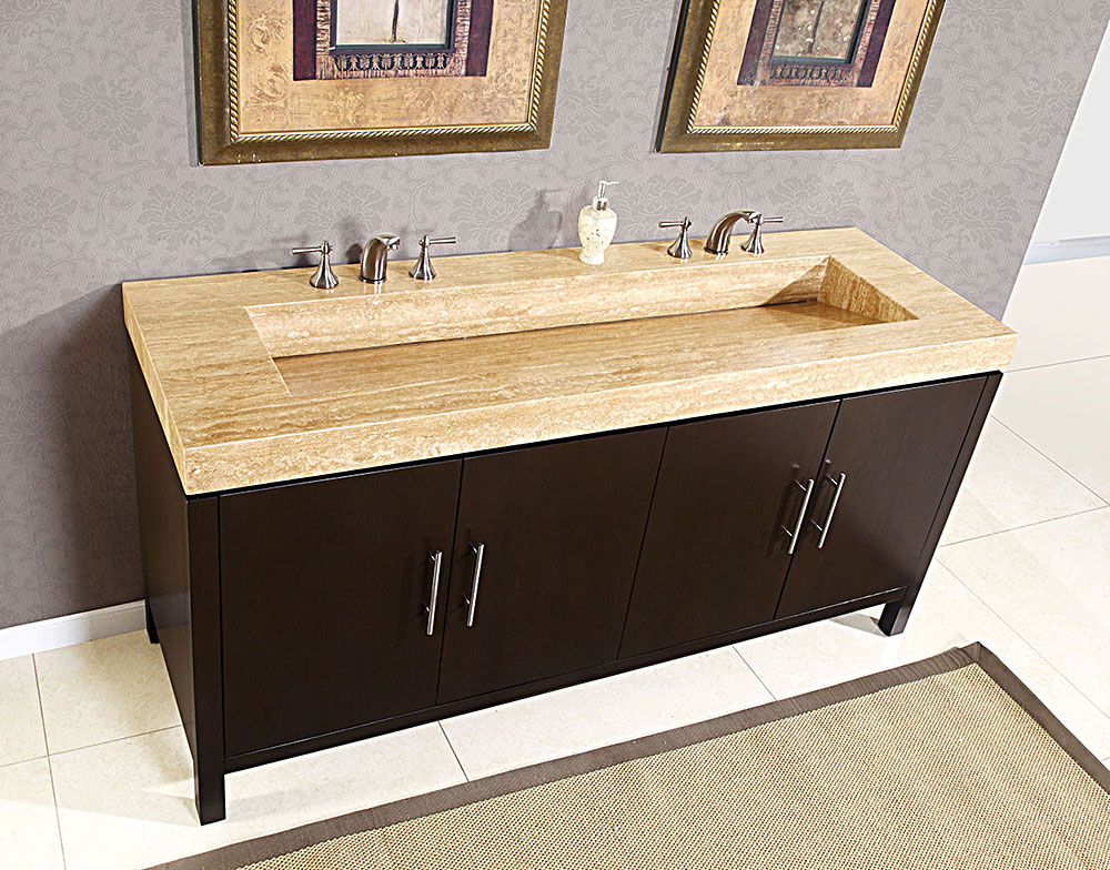 Image of: Ceramic Double Sink Vanity Top