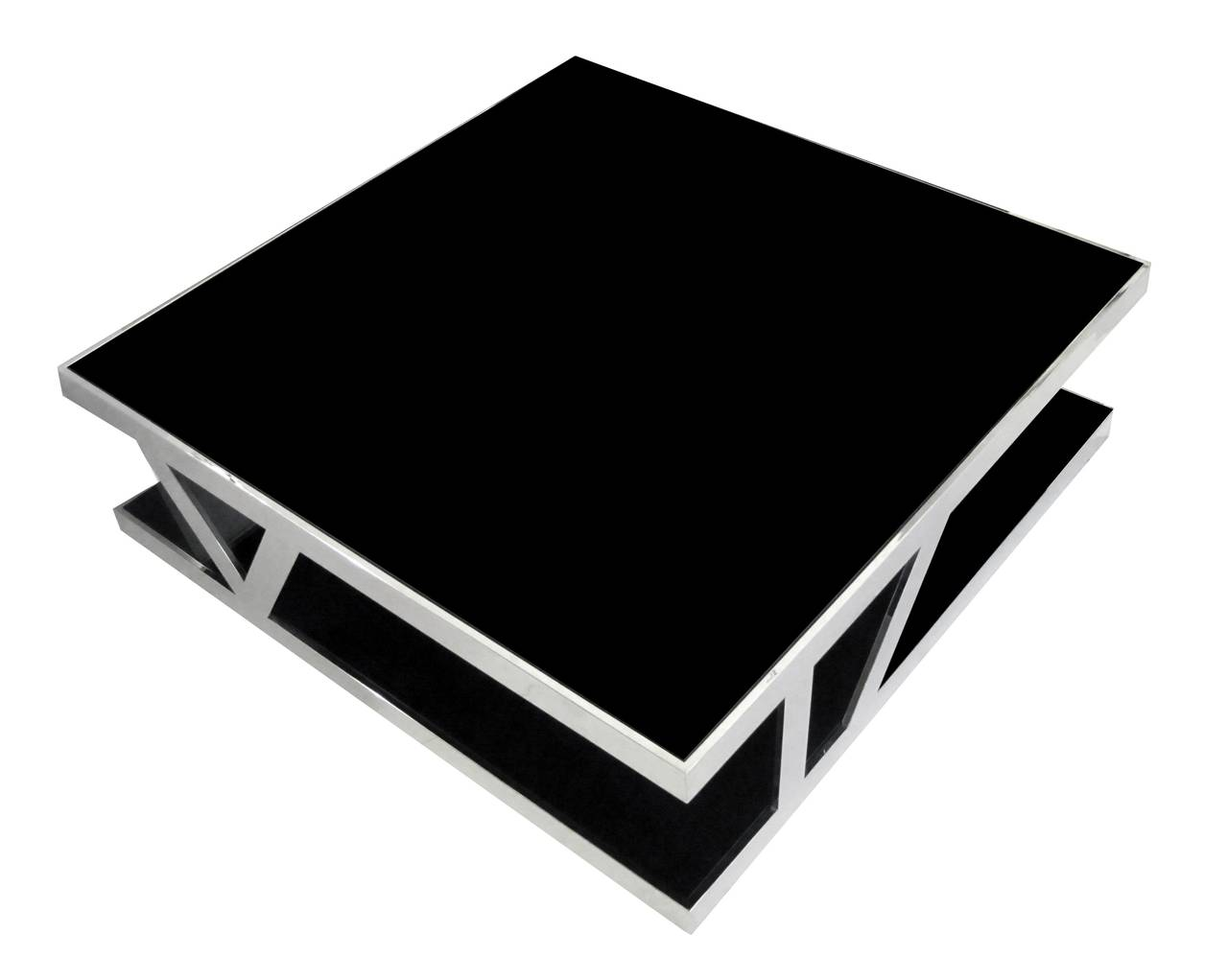 Picture of: Chrome and Glass Coffee Table Black Color