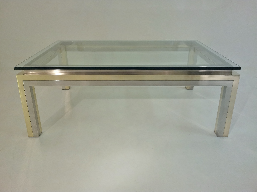 Picture of: Chrome and Glass Coffee Table Large