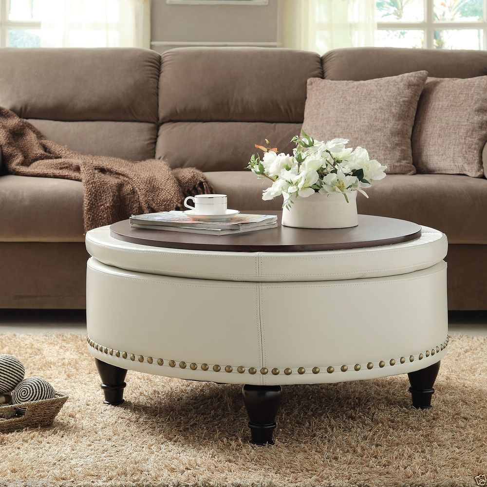 Image of: Circular Coffee Table Ottoman