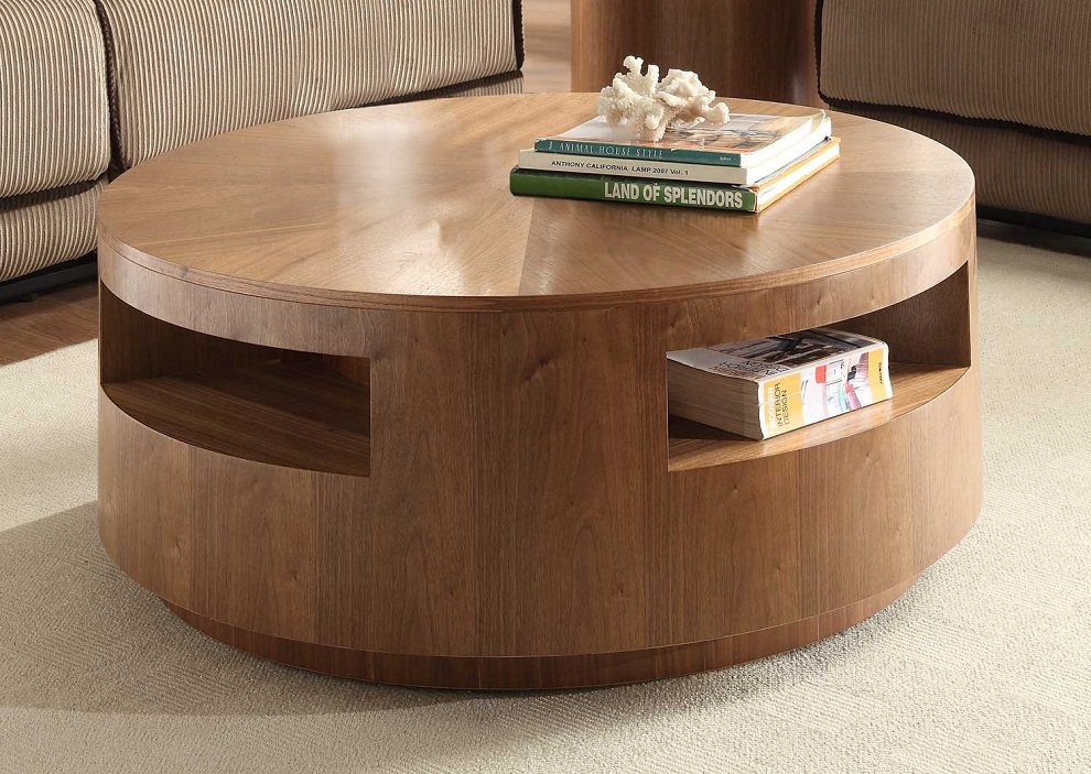 Image of: Circular Coffee Table Shelves