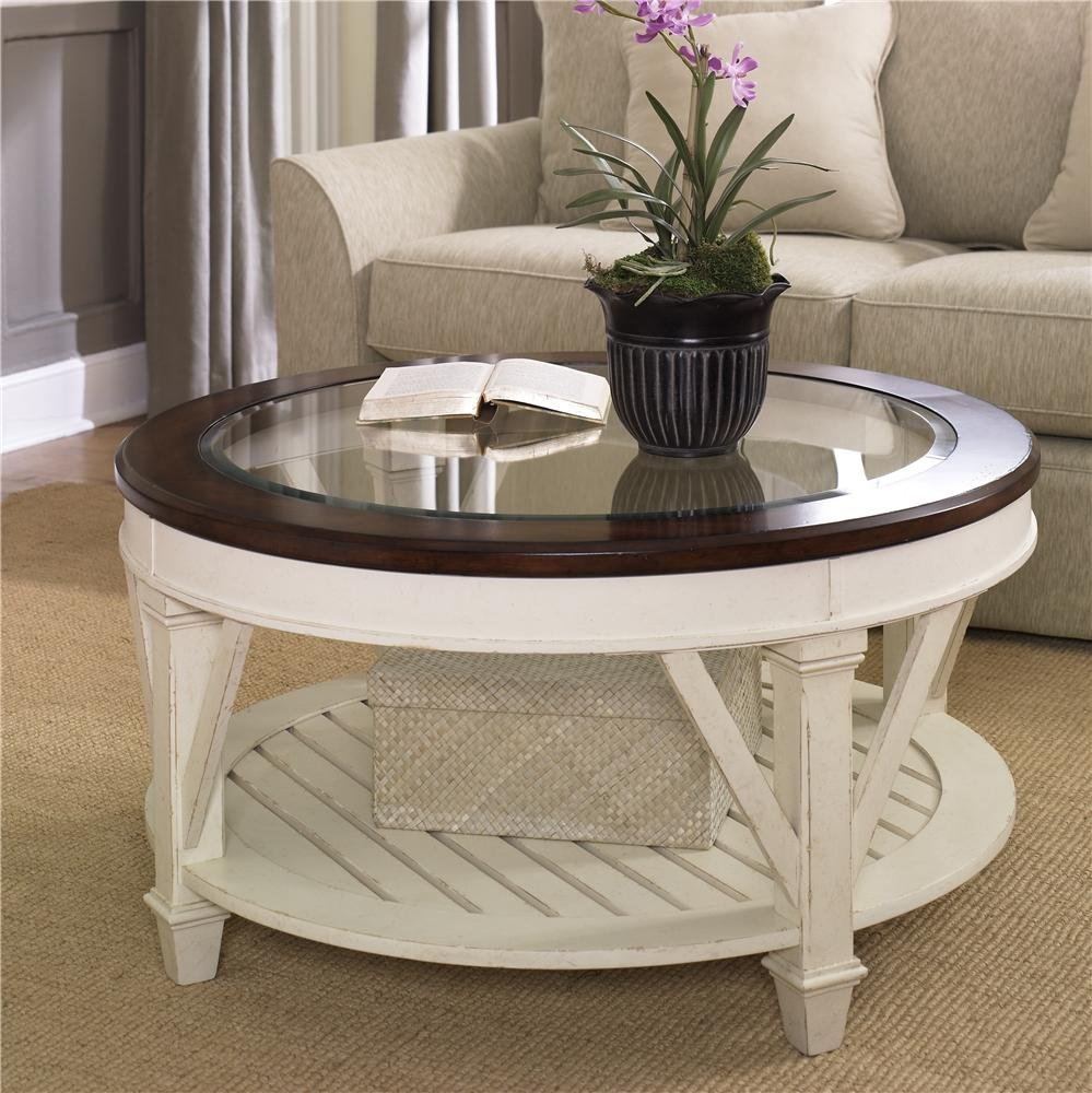 Picture of: Circular Coffee Table Wood and Glass