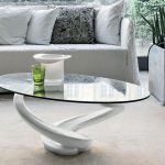 Contemporary Oval Glass Coffee Table